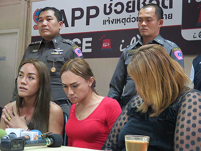 The Khao San Road ladyboys arrested for stealing a credit card from a tourist