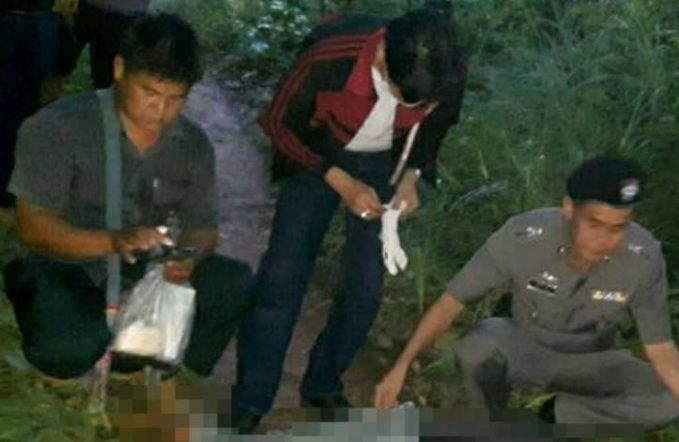 Police at the scene in Chiang Mai were Nafu Aunlae, 31, and daughter Patchalee Chabu, seven, were stabbed to death