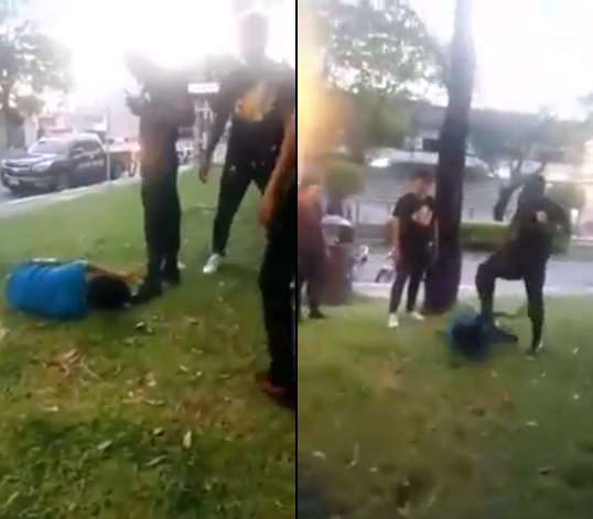 security guard attack kicking student thailand