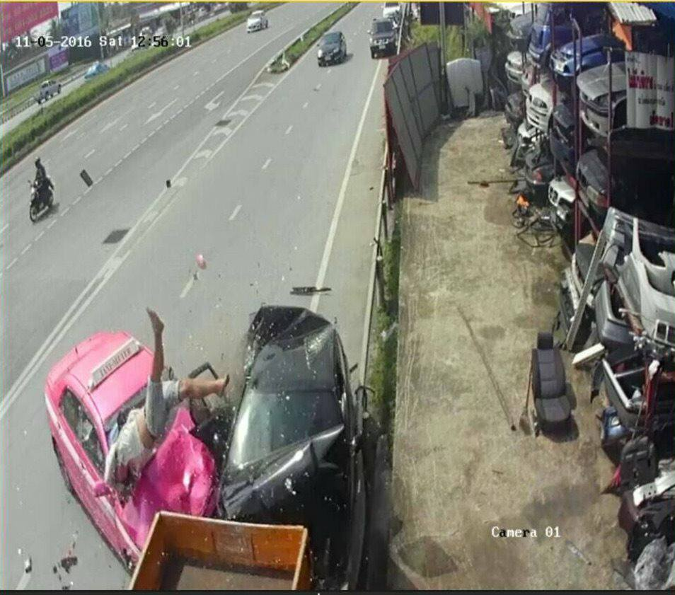 CCTV caught the collision on tape in Bangkok, Thailand