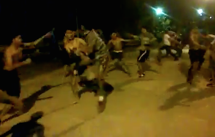 thai street fight with 20 people