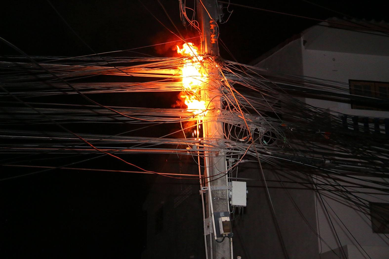 Fire from the explosion of the power cables