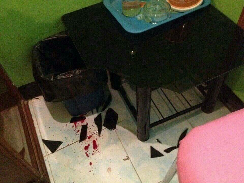 The damaged furniture in the room in Bangkok, Thailand