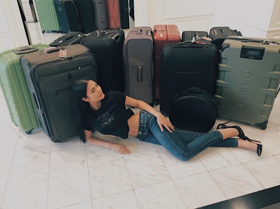 Miss Universe Thailand Chalita Suansane checking in with her 17 suitcases