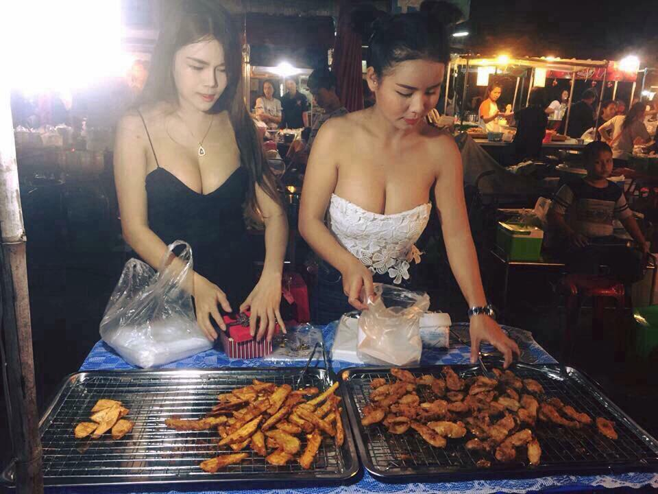 sexy fired banana sellers with big boobs in Bangkok