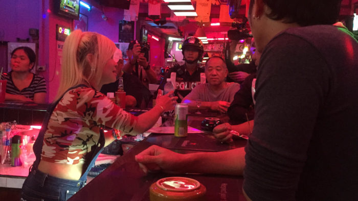 The bar girl who attacked the British couple after a dispute over their drinks bill in Pattaya