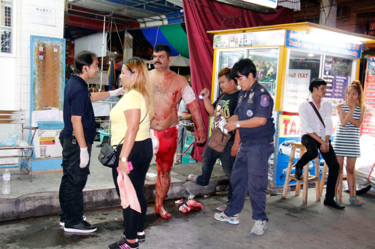 A Saudi tourist was left shirtless and covered in blood after a knife fight over a woman in Pattaya