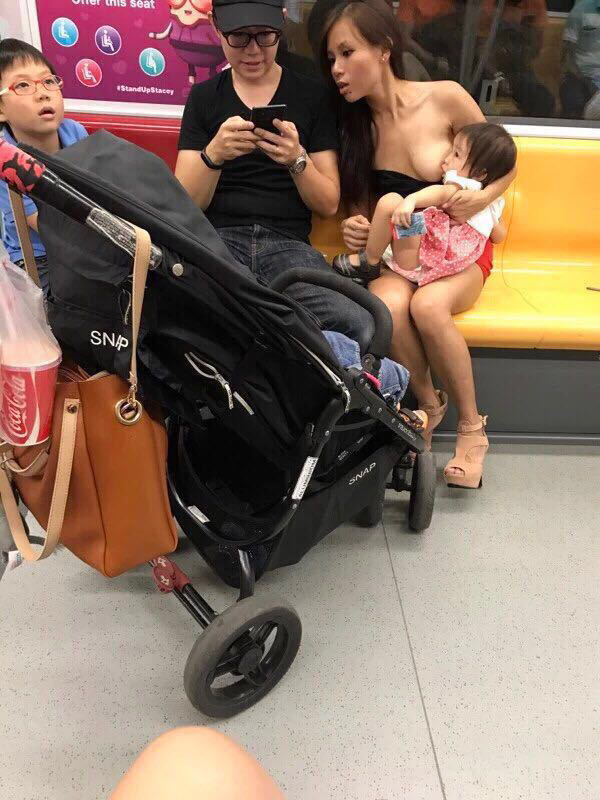 Cheryl Lee breastfeeding her baby on the MRT in Singapore