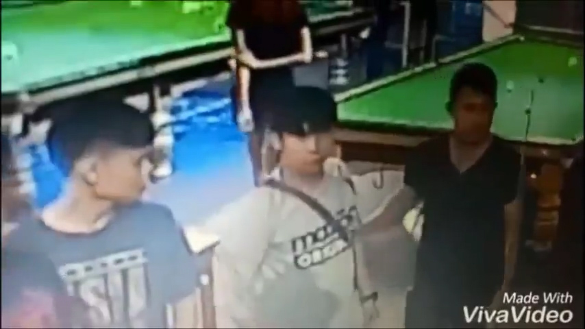 Alleged attacker Chayut Phuphuak, 36, on CCTV during a snooker hall brawl in which a man was battered to death with a cue