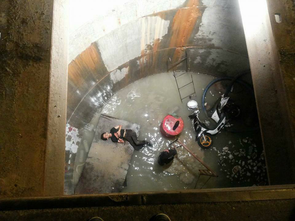 This moped rider had a miracle escape after plunging 20ft into an uncovered SEWER.