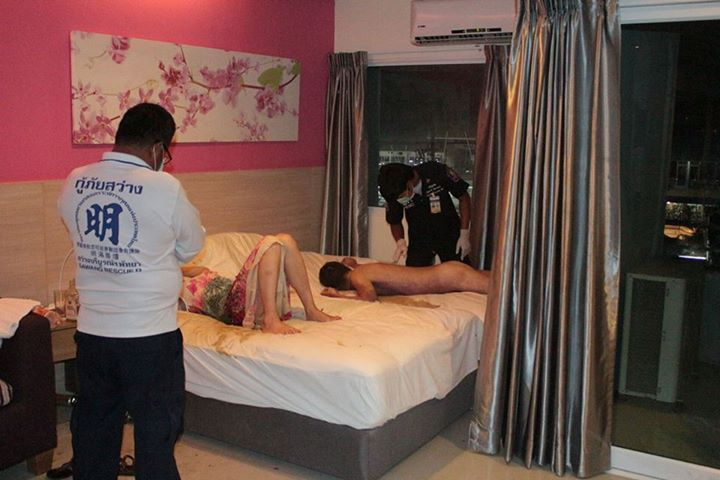 Viktor Vart, 41, was found sprawled on the bead of the filthy hotel room after guests complained of the smell in Pattaya, Thailand.