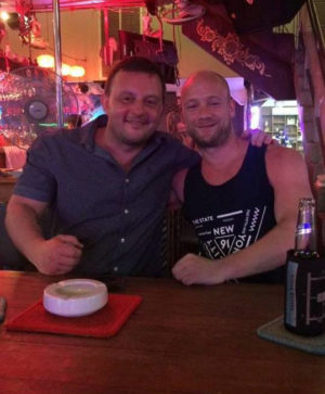 Scott Townsend (right) with a pal in Thailand. Scott drowned after walking into the sea while he was drunk at around 10am last Friday morning in Phuket