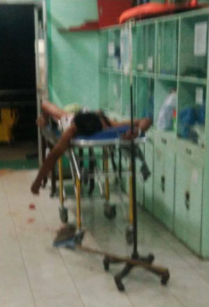 Mark Betitta, 33, at the Jesus Colmenares Memorial Hospital in the Balasan Town, the Philippines, after his jealous wife cut off his penis with a pair of scissors while he was in a drunken slumber