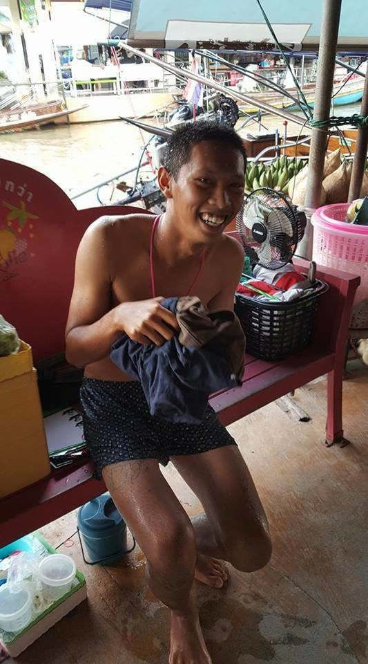 The boy named Nong Pom was near a group of Chinese tourists when a girl dropped her beloved iPhone 6 Plus into the waterway in Bangkok, Thailand.