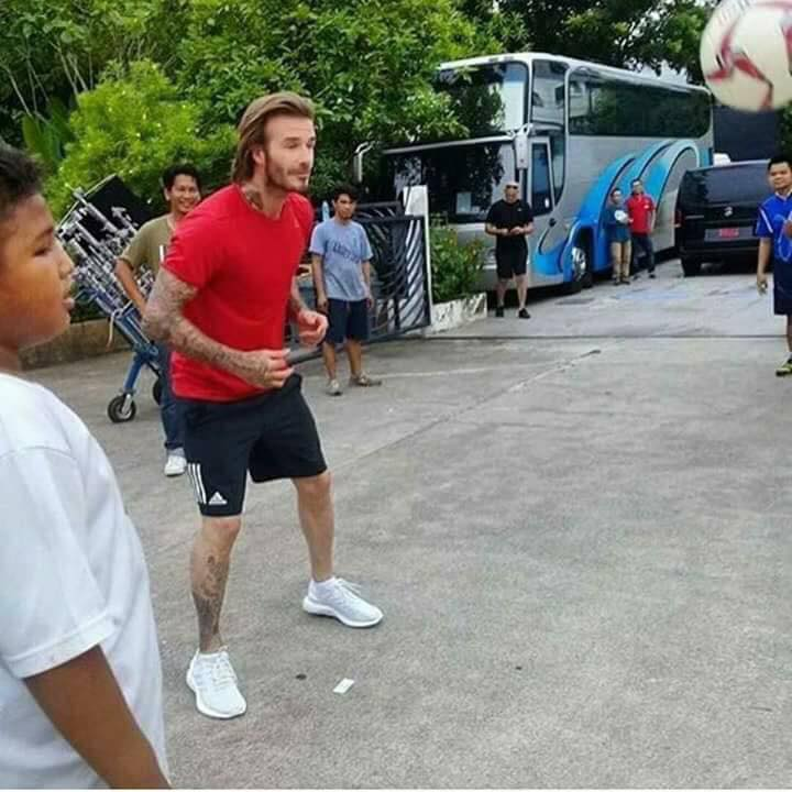 Beckham was in Thailand shooting a video for an insurance company