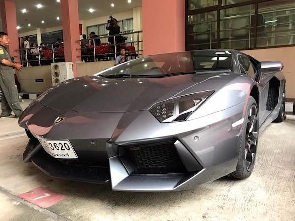 The grey Lamborghini seized by police - one of four belonging to Alexandre Cazes