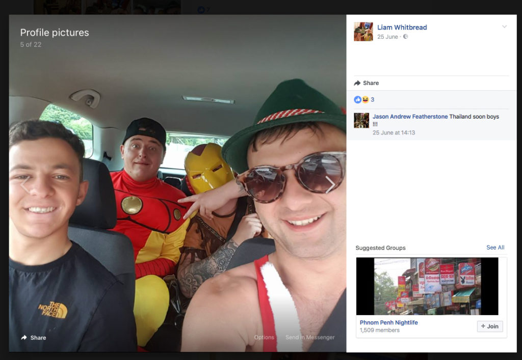 Liam Whitbread, right, in a Facebook post with friends as he got ready to go to Thailand