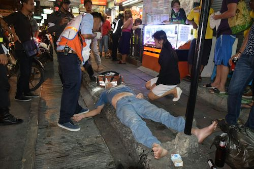 American tourist Stuart Rhodes after being knocked out by a taxi driver in Pattaya