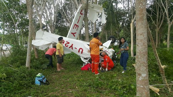 The pilot and mechanic are rescued after their light aircraft crashed in Rayong