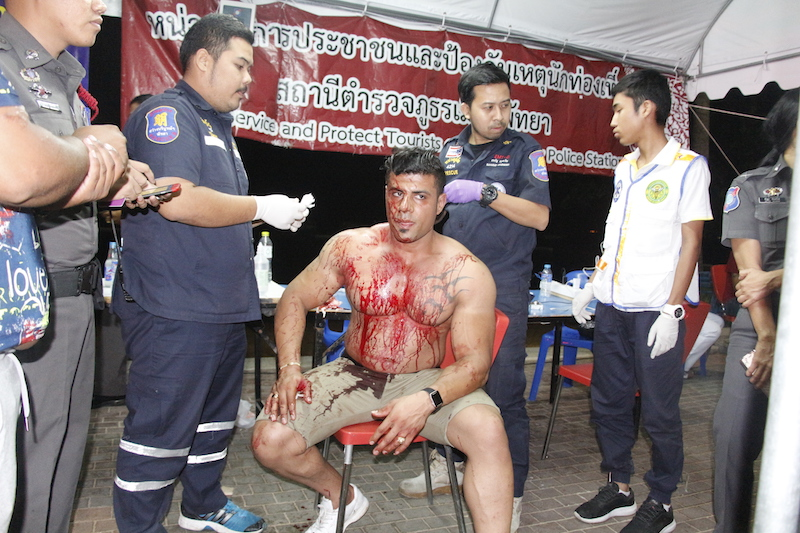 The Iranian tourist allegedly attacked with glass bottles by Thais in Pattaya