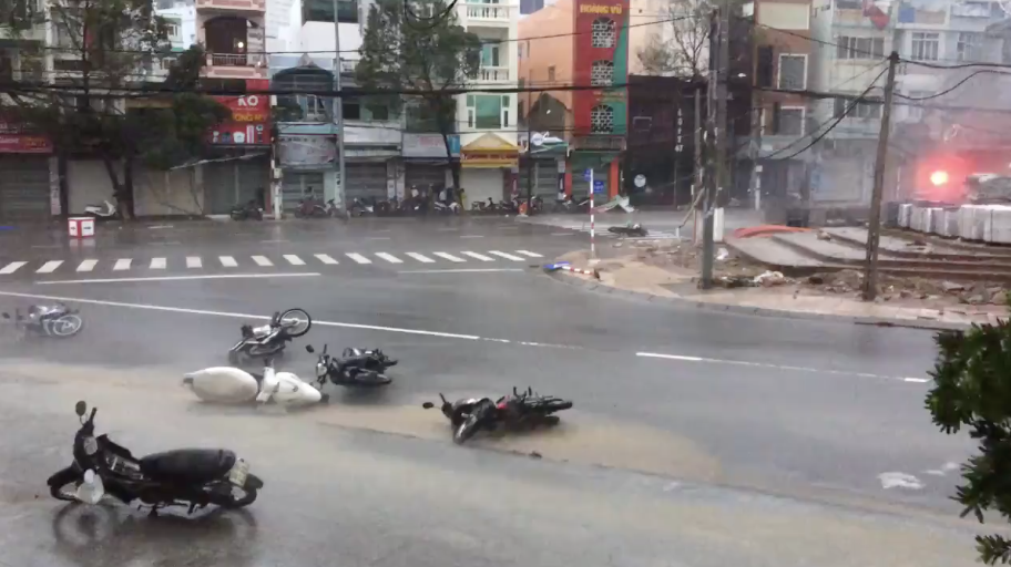 Motorbikes lay in the street after Typhoon Damrey hit Nha Trang district in Vietnam