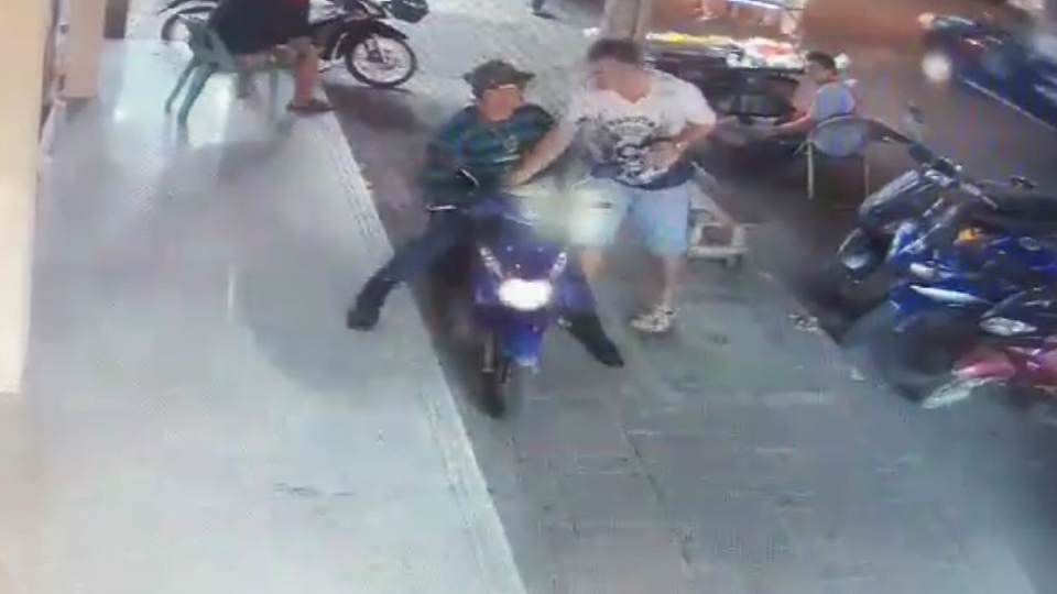 SWISS TOURIST PUNCHED IN THE HEAD AFTER TURNING OFF MAN'S MOPED