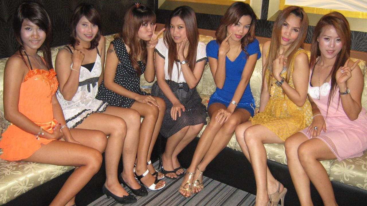 Some of the girls from inside Nataraee massage parlour when it was open