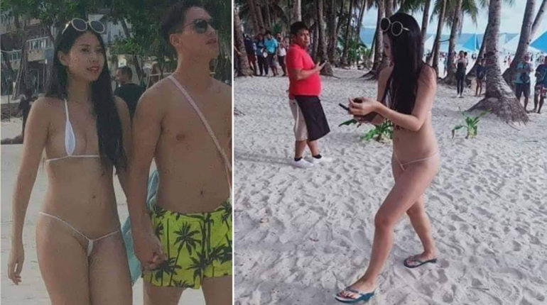 A tourist was arrested after wearing a skimpy string bikini to a beach in the Philippines.Lin Tzu Ting, 26, was on holiday with her boyfriend, both from Taiwan, when she wore the revealing garment on the popular Boracay island.Staff at the holidaymaker's hotel warned her last Wednesday (9/10) to change her clothes when they saw her going to the beach - but she ignored them.The young woman wore the same white bikini the next day, walking along the sand hand-in-hand with her partner. But shocked locals called police who arrived and arrested Lin. They made her wear shorts and a t-shirt before she was bundled her into a police vehicle and taken to the station.Lin told the police her bikini was a ''form of art'' and ''personal expression'' while her boyfriend said it was ''normal in our country'' and that the clothing was a way for his partner to ''to express herself with confidence''.Officers did not accept the defence and fined Lin 2,500 Philippine Peso (£38.30) which she was told she had to pay before she could leave the island as planned on October 11.